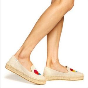 Canvas hearts espadrille platform slippers 🍎🖐🏼